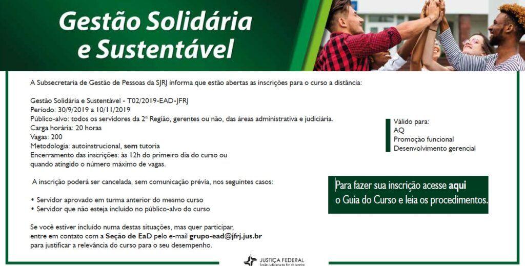 Banner Do Curso Ead Gestão Solidária E Sustentável Sjrj 25 9 2019
