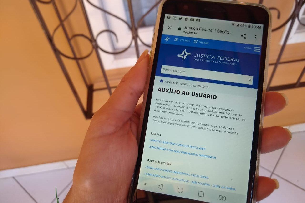 Auxílio-emergencial: JFES cria link para auxiliar o cidadão na abertura de ação nos juizados
